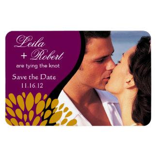 Save the Date Photo   purple goldenrod Rectangular Photo Magnet