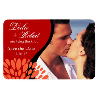 Save the Date Photo   red peach Rectangular Photo Magnet