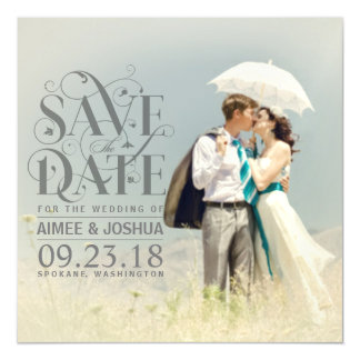 Save the Date Photo-Soft Transparent Gray Overlay Magnetic Card