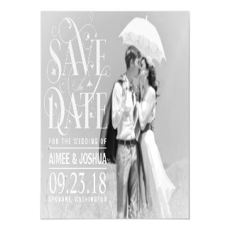 Save the Date Photo-Soft Transparent Overlay Text Magnetic Invitations