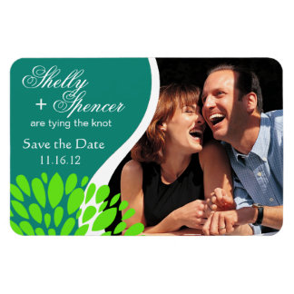 Save the Date Photo   teal lime green Rectangular Photo Magnet
