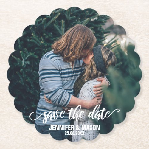 Save The Date Photo Template Calligraphy Script Paper Coaster