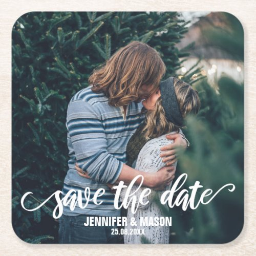 Save The Date Photo Template Calligraphy Script Square Paper Coaster