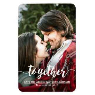 Save the Date Photo Template Together Typography Magnet