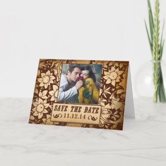 save the date photo vintage damask cards