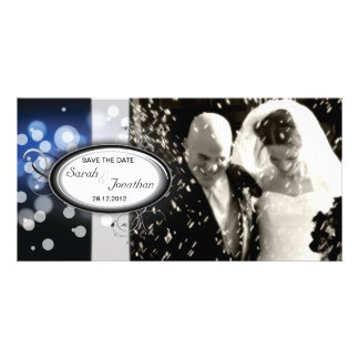 Save the Date Photo Wedding Card Blue Bright Light