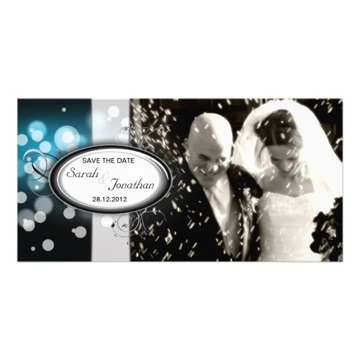 Save the Date Photo Wedding Card Blue Bright Light Photo Greeting Card