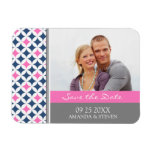 Save the Date Photo Wedding Magnet Gray Blue Pink