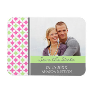 Save the Date Photo Wedding Magnet Grey Pink Lime
