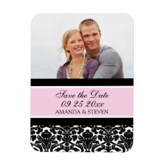 Save the Date Photo Wedding Magnet Pink Damask