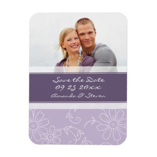 Save the Date Photo Wedding Magnet Purple Floral