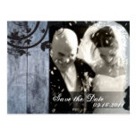 Save the Date Photo Wedding Postcard Barn Board