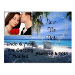 Save The Date Picture Postcard Beach Theme BLING