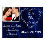 Save The Date Picture Postcard Blue BLING