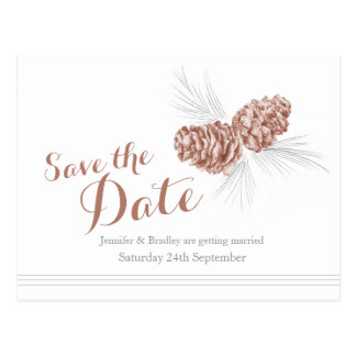 Save the date pine cones wedding card