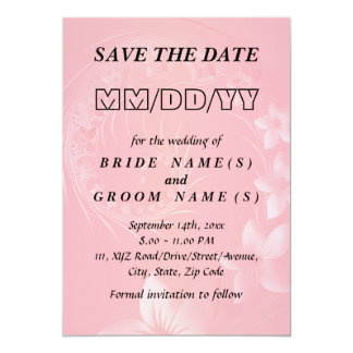 Save the Date - Pink Abstract Flowers Card