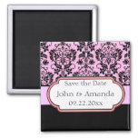 Save the Date Pink and Black Customizable Magnet