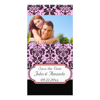 Save the Date ~ Pink and Black Damask Picture Card