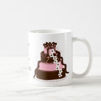Save the Date Pink and Chocolate Cake Coffee Mug