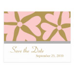 Save the Date - Pink and Gold Wedding Postcard