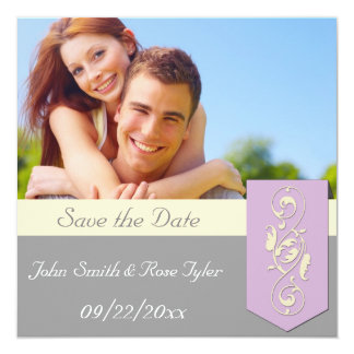 """Save the Date Pink and Grey 5.25"""" Square Invitation Card"""