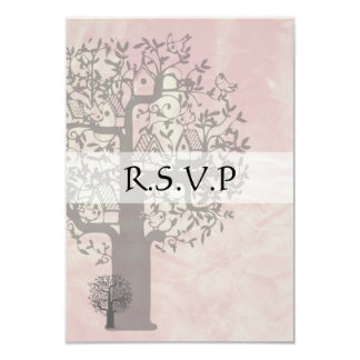 Save the Date Pink and Grey Tree and Bird House Card