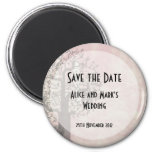 Save the Date - Pink and Grey Tree and Bird House Magnet