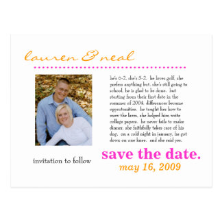 save the date- pink and orage postcards