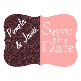 Save The Date Pink and Red Burgundy Glitter Card