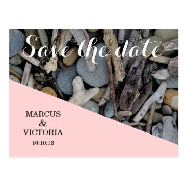 Beach Themed Save the date Pink Beach Stones Wedding Postcard