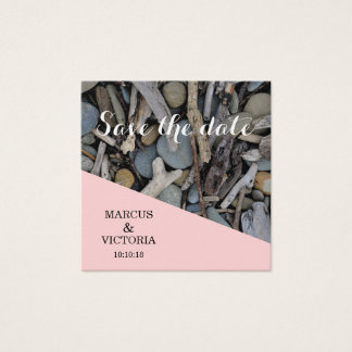 Save the date Pink Beach Stones Wedding Square Business Card
