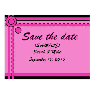 SAVE THE DATE - (Pink & Black) -circles/lines Postcard