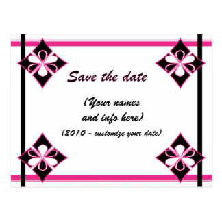 SAVE THE DATE (pink & black) Postcard