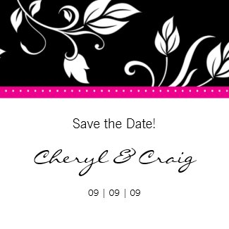 Save the Date Pink Black Trendy Floral Magnet magnet