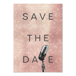 Save The Date Pink Blush Rose Gray Microfone Card