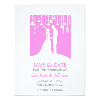 Save the date - pink bride and groom silhouettes card