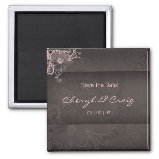 Save the Date Pink Brown Floral Fridge Magnet