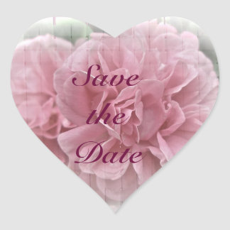 Save the Date Pink Climbing Rose Blossoms Heart Sticker