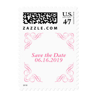 Save the Date Pink Corner Postage