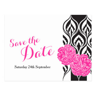 Save the date pink dianthus wedding postcard
