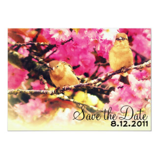 Save the Date - Pink Floral Blooms and Birdies Card