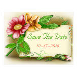 Save the Date Pink & Green Floral  Photo Postcard