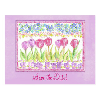 Save the Date Pink Lavender Tulip Flower Drawing Postcard