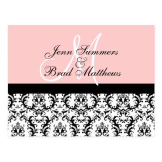 Save the Date Pink Monogram Damask Card Postcard