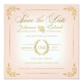 Save the Date, Pink n Gold Laurel Leaf Typography Card