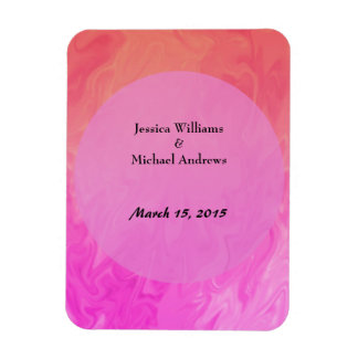 Save the Date Pink orange marble texture Magnet