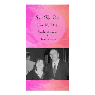 Save the Date Pink orange marble texture Picture Card