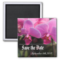 Save the date, pink orchid flowers. refrigerator magnet