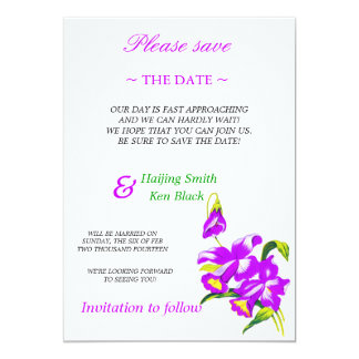 Save The Date Pink Orchid Wedding Flowers 2 Card