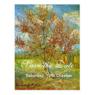 Save the Date, Pink Peach Tree in Blossom Remi... Post Card
